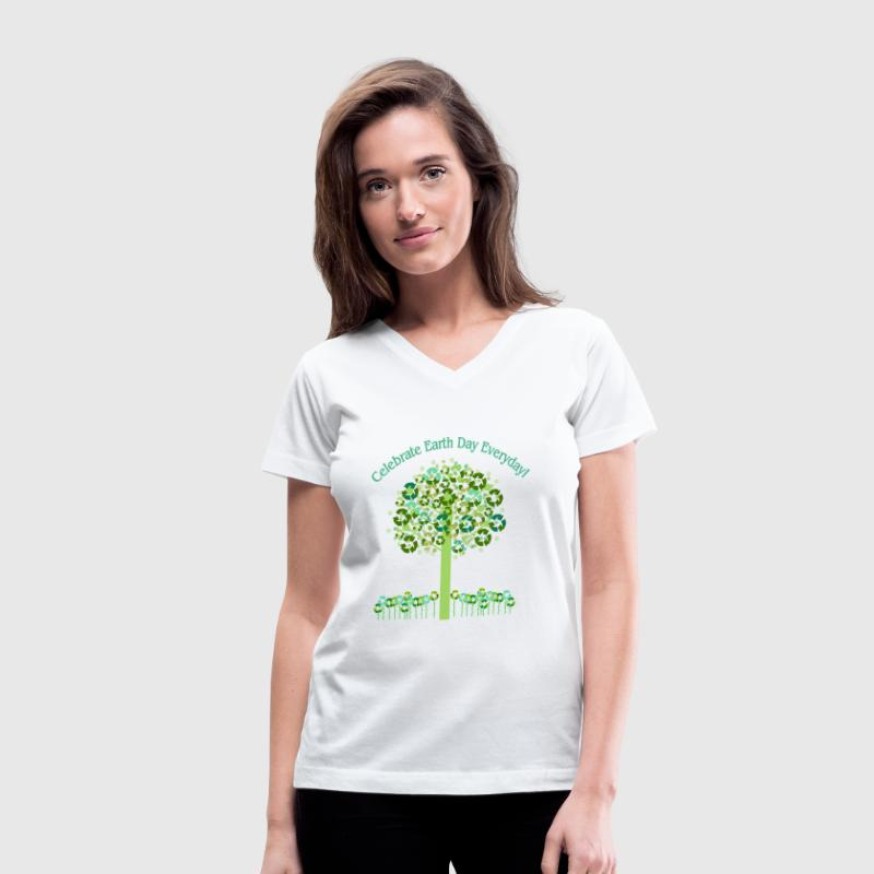 White Celebrate Earth Day Everyday Women's T-shirts - Women's V-Neck T-Shirt
