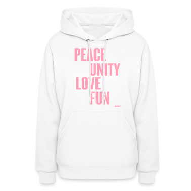 White peace unity love and fun by wam Hooded Sweatshirts