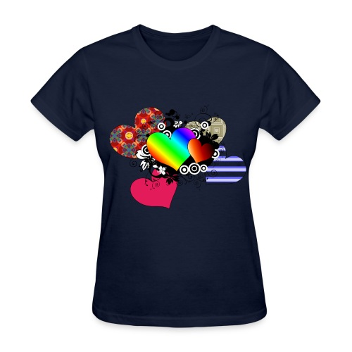 Hearts in Multi Color - Women's T-Shirt