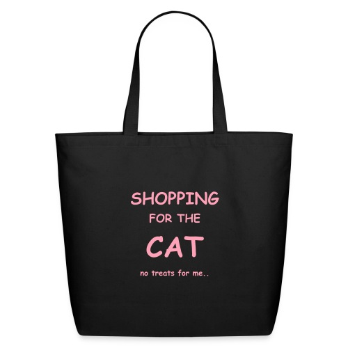 SHOPPING FOR THE CAT.. Pale pink on black - Eco-Friendly Cotton Tote