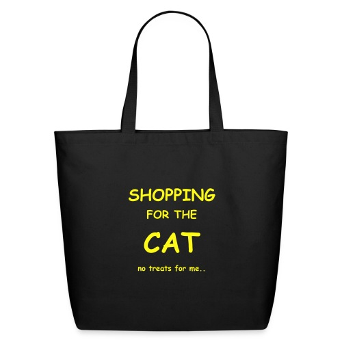 SHOPPING FOR THE CAT.. Yellow on black - Eco-Friendly Cotton Tote