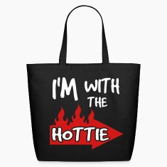 Black I'm With The Hottie With Flaming Arrow Bags