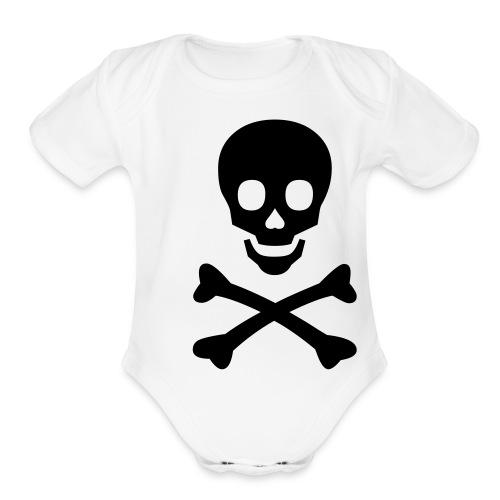 Happy Face Skull and Crossbones One size - Organic Short Sleeve Baby Bodysuit