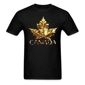 Cool Canada T-shirt Gold Chrome Maple Leaf Souvenir - Men's T-Shirt