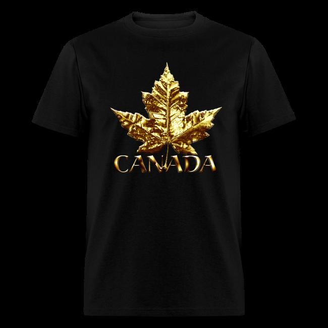 Cool Canada T-shirt Gold Chrome Maple Leaf Souvenir