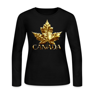 Women's Long Sleeve Canada Jersey Shirt Gold Medal Maple Leaf Women's Shirt - Women's Long Sleeve Jersey T-Shirt