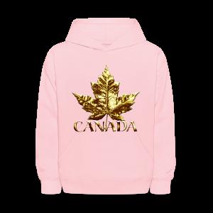 Kid's Canada Hoodies Cool Gold Canada Maple Leaf Kids Hooded Sweatshirt - Kids' Hoodie