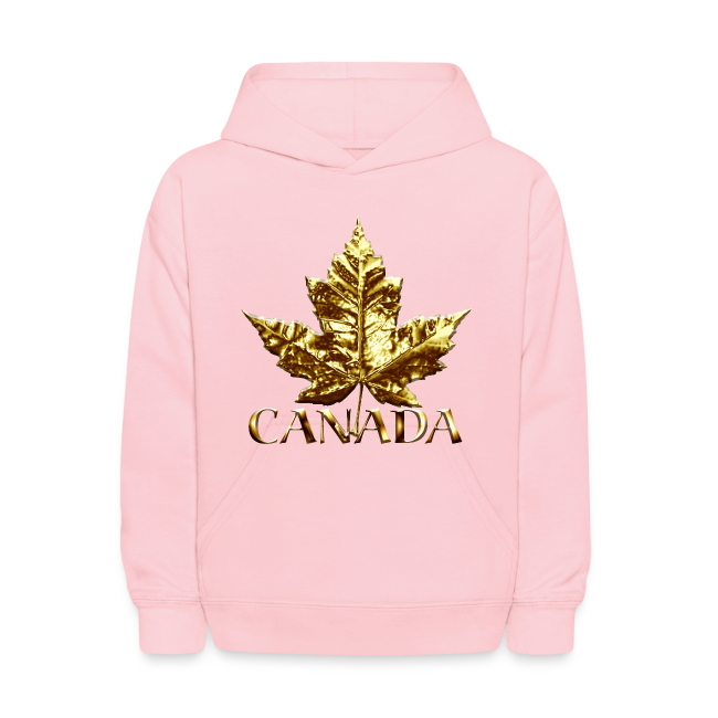 Kid's Canada Hoodies Cool Gold Canada Maple Leaf Kids Hooded Sweatshirt