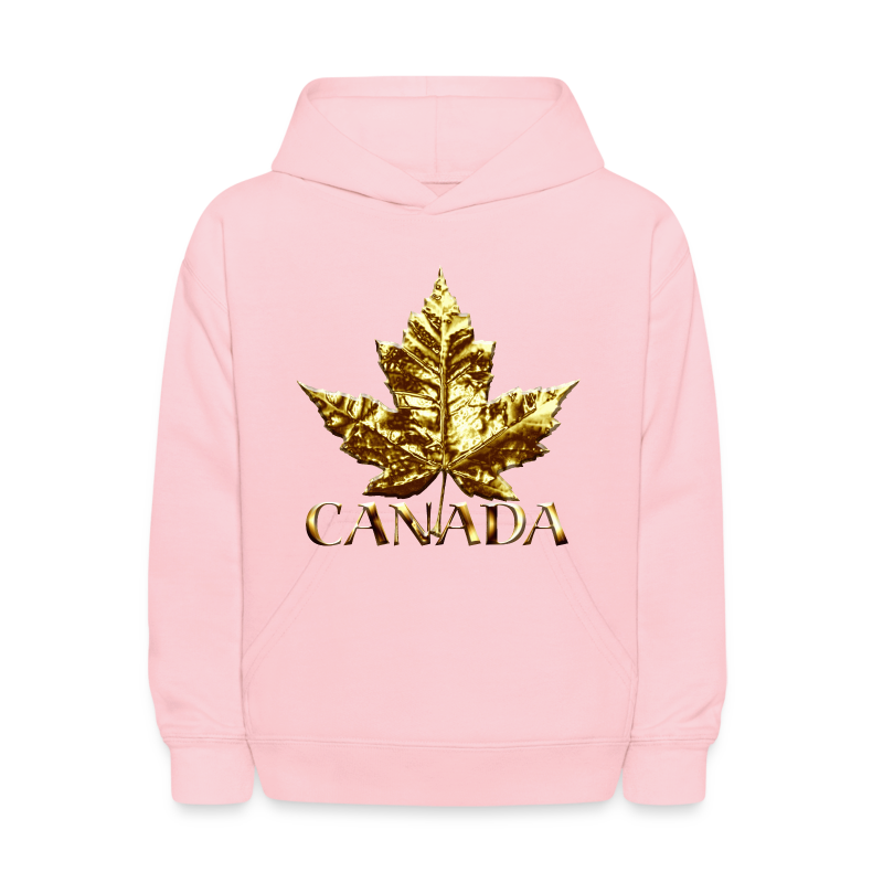Kid's Canada Hoodies Cool Gold Canada Maple Leaf Kids Hooded Sweatshirt - Kids' Hoodie