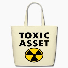 Creme Toxic Asset With Hazardous Waste Symbol Bags