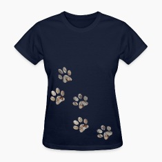 Navy PAW PRINTS Women's T-shirts