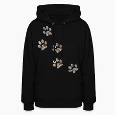 Black PAW PRINTS Hooded Sweatshirts