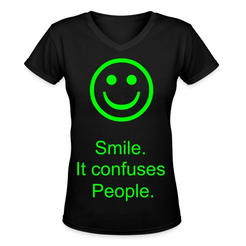 Smile. - Women's V-Neck T-Shirt