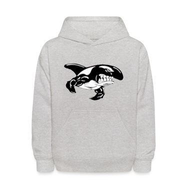 Heather grey Orca Whale with Muscles Sweatshirts