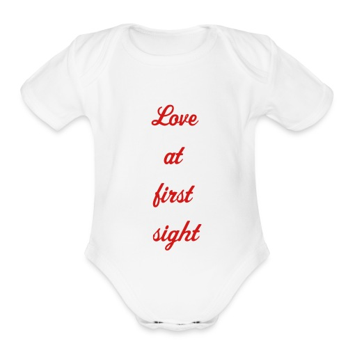 love at first sight - Organic Short Sleeve Baby Bodysuit