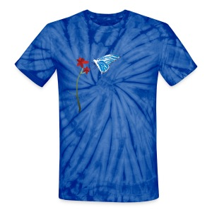 Butterfly and Red Flower - Unisex Tie Dye T-Shirt