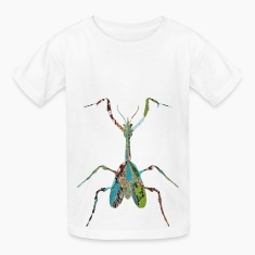 White INSECT : MANTIS Kids Shirts