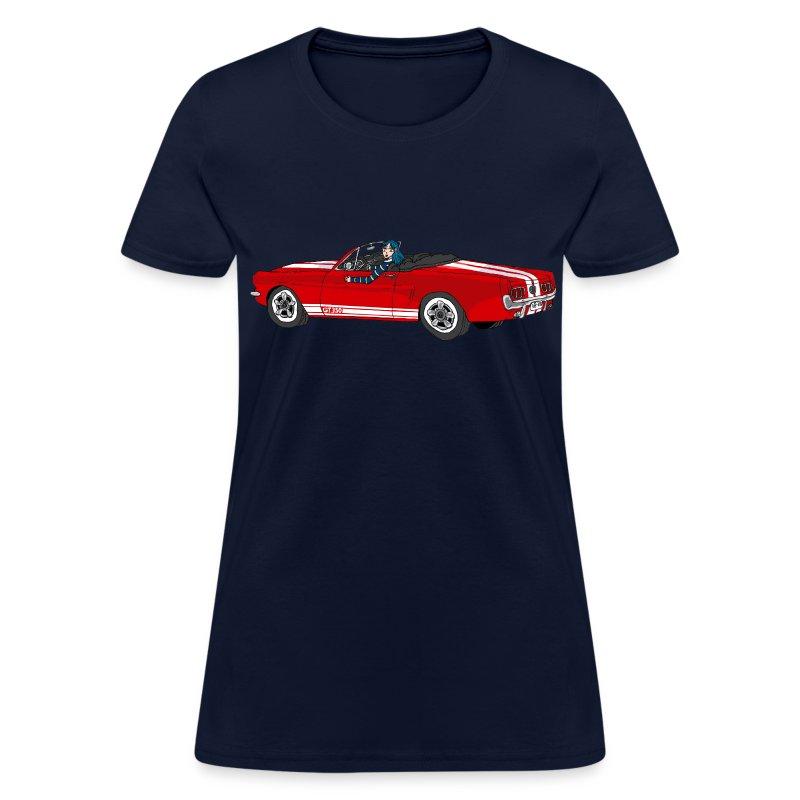 Ford Mustang Racing Stripe Design Blue Men S Size Tee: 1965 Mustang Girl T-Shirt