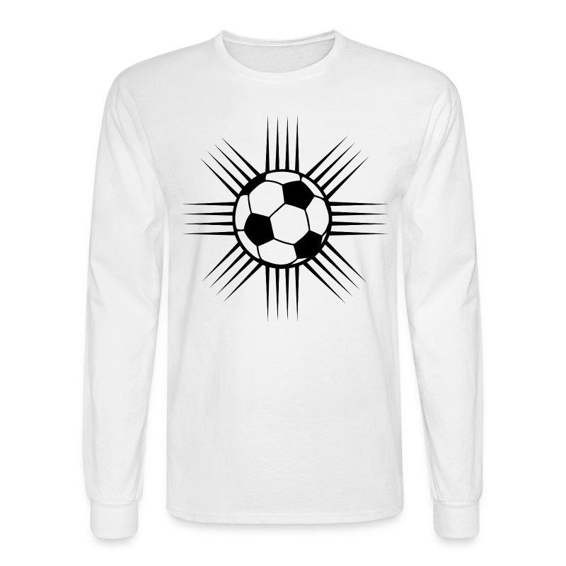 white cool soccer ball design or team logo long sleeve shirts mens long sleeve t - Team T Shirt Design Ideas