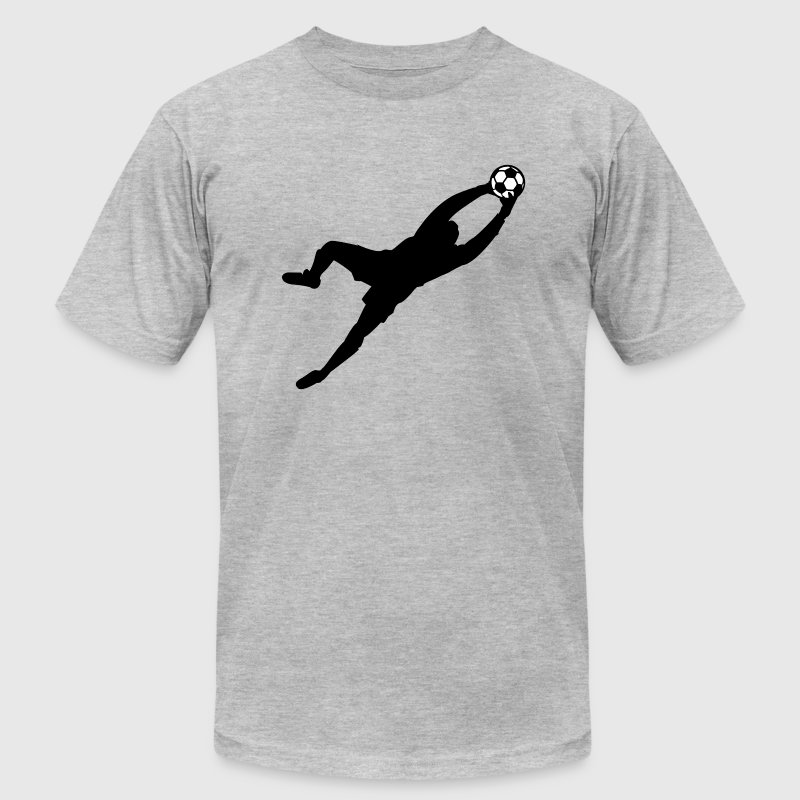 Heather grey Cool Soccer Goalie Dive Save Graphic T-Shirts - Men's T-Shirt by American Apparel