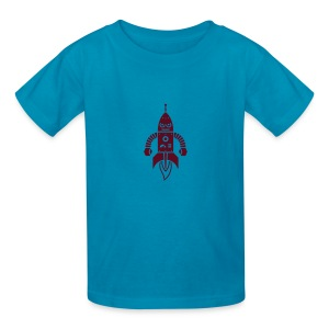 Astrobot [dk red on orange] - Kids' T-Shirt