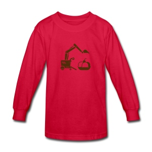 Ice Cream Scoop [Brown on Red] - Kids' Long Sleeve T-Shirt