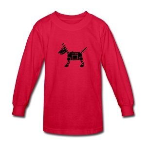 RoverBot [Fuzzy Blk on Red] - Kids' Long Sleeve T-Shirt