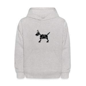 RoverBot [Fuzzy Blk on Grey] - Kids' Hoodie