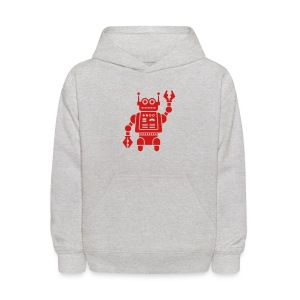 Friendly Robot [Red on Grey] - Kids' Hoodie