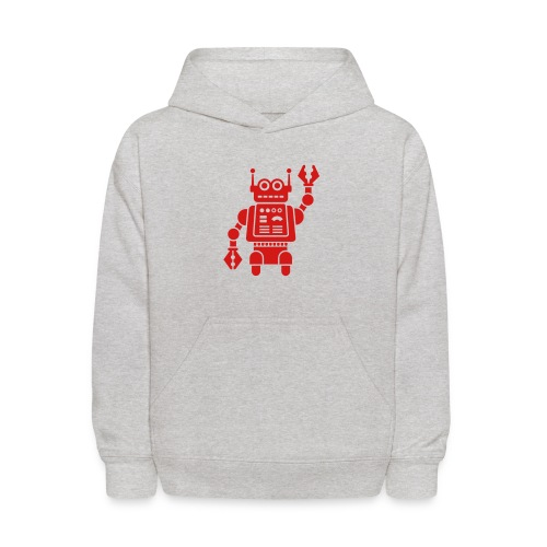 Friendly Robot [Red on Grey] - Kids' Hoodie
