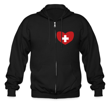 Black Swiss Flag Zippered Jackets