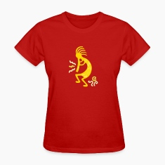 Red kokopelli_carving_american Women's T-Shirts
