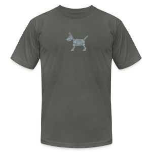 RoverBot [Silver on AA Asphalt] - Men's T-Shirt by American Apparel