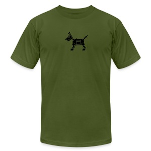 RoverBot [Fuzzy Blk on AA Olive] - Men's T-Shirt by American Apparel