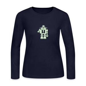 Ice Cream Robot [Glow on Navy] - Women's Long Sleeve Jersey T-Shirt