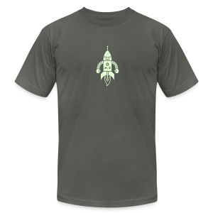 Astrobot [Glow on AA Asphalt] - Men's T-Shirt by American Apparel