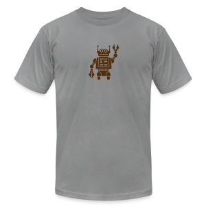 Friendly Robot [Brn on AA Slate] - Men's T-Shirt by American Apparel