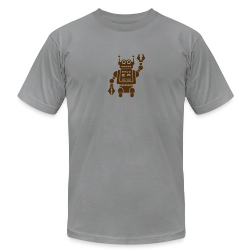 Friendly Robot [Brn on AA Slate] - Men's Fine Jersey T-Shirt