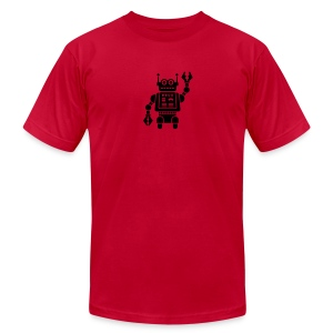 Friendly Robot [Fuzzy Blk on AA Red] - Men's T-Shirt by American Apparel
