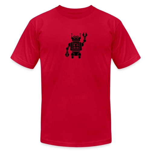 Friendly Robot [Fuzzy Blk on AA Red] - Men's Fine Jersey T-Shirt