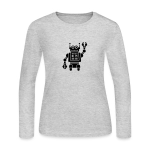 Friendly Robot [Fuzzy Blk on Heather] - Women's Long Sleeve Jersey T-Shirt