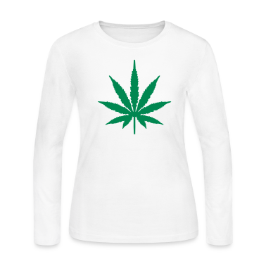 White Marijuana Long Sleeve Shirts