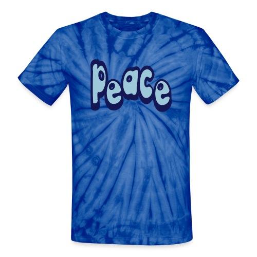 WUBT 'Peace-Word-Unusual' Unisex Tie-Dye Tee, Baby Blue - Unisex Tie Dye T-Shirt