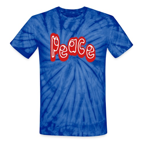 WUBT 'Peace-Word-Unusual' Unisex Tie-Dye Tee, Red - Unisex Tie Dye T-Shirt