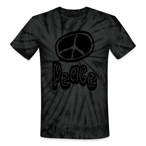 WUBT 'Peace Symbol Unsual With Peace' Unisex Tie-Dye Tee, Black - Unisex Tie Dye T-Shirt
