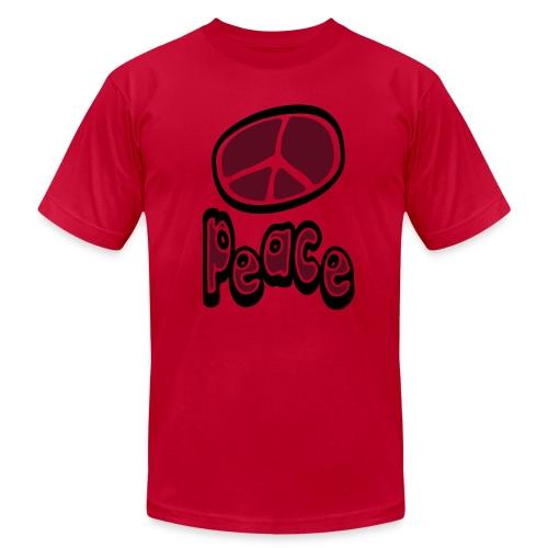WUBT 'Peace Symbol Unsual With Peace' Men's AA Tee, Orange, Aqua - Men's Fine Jersey T-Shirt