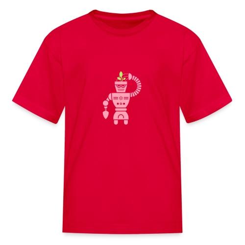 GrowBot [Pink on Red] - Kids' T-Shirt