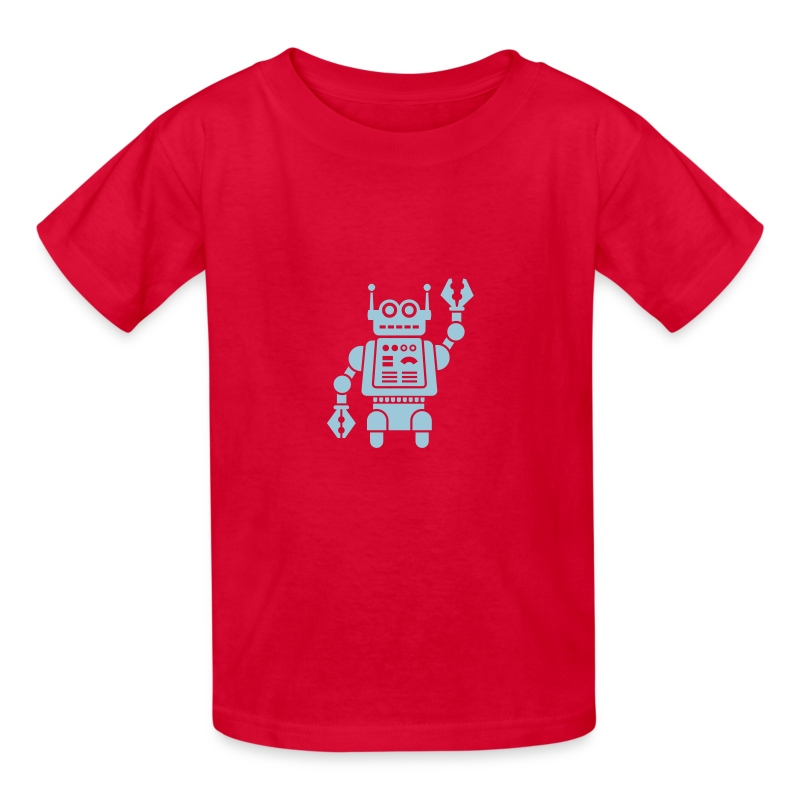 Friendly Robot [LT Blu on Red] - Kids' T-Shirt