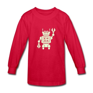Friendly Robot [Glow on Red] - Kids' Long Sleeve T-Shirt