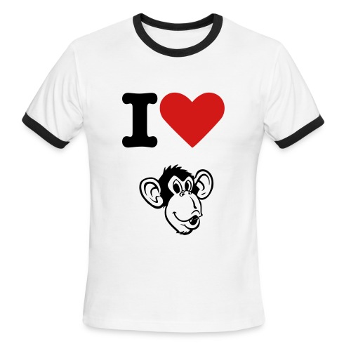 I Heart Monkeys - Men's Ringer T-Shirt